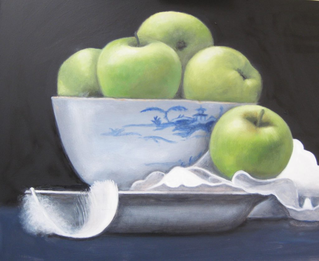 Green Apples in Blue Delft Bowl