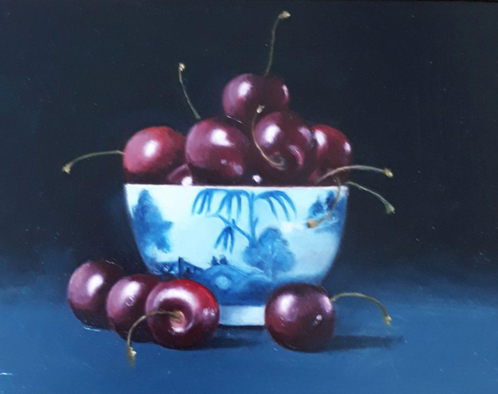 Black Cherries in Blue & White Bowl