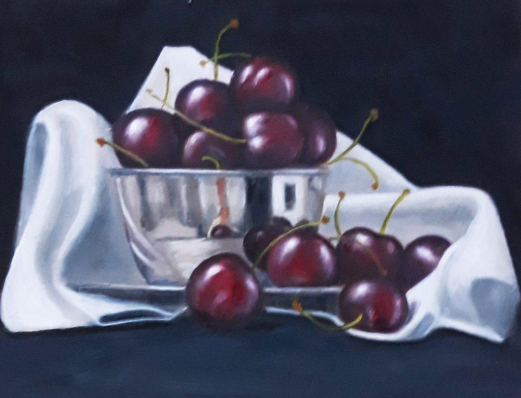 Cherries in Silver Bowl