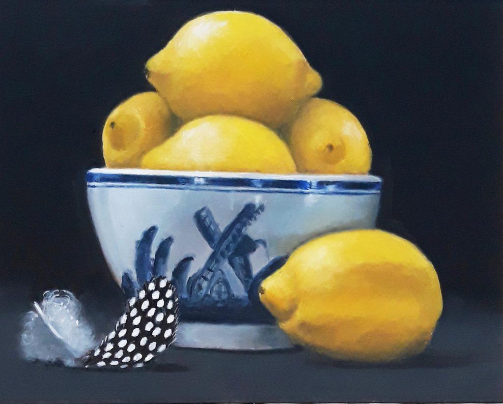 Lemons in Blue & White Bowl