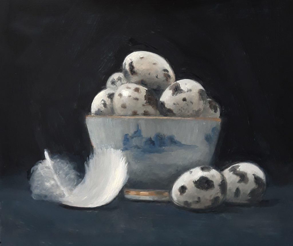 Quails Eggs in Blue & White Bowl